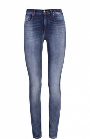Укороченные джинсы-скинни с потертостями Jacob Cohen. Цвет: синий