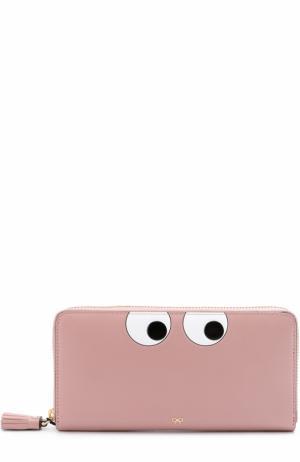 Кожаное портмоне Eyes на молнии Anya Hindmarch. Цвет: розовый
