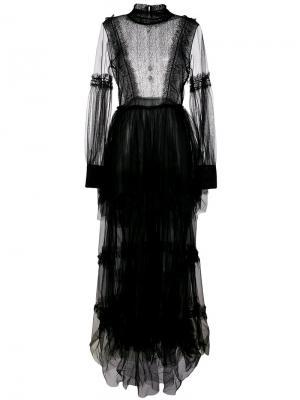 Платье с кружевной отделкой Wandering. Цвет: чёрный