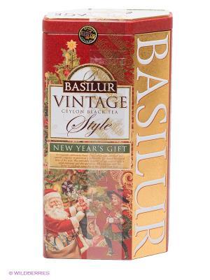 Чай Basilur ВИНТАЖ Новогодний подарок, 1 БАНОЧКА. Цвет: красный, золотистый