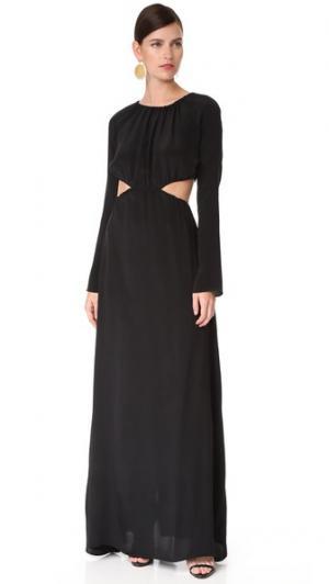 Вечернее платье с длинными рукавами и сборками Juan Carlos Obando. Цвет: оникс