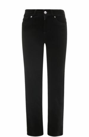Укороченные бархатные джинсы прямого кроя Loro Piana. Цвет: черный