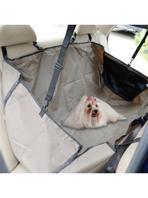 Автогамак для собак с защитой дверей COSTWAY. Цвет: коричневый