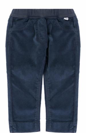 Хлопковые брюки прямого кроя с эластичным поясом Il Gufo. Цвет: синий