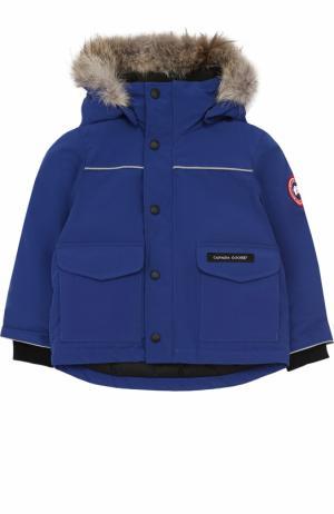 Пуховая куртка Lynx с меховой отделкой на капюшоне Canada Goose. Цвет: синий