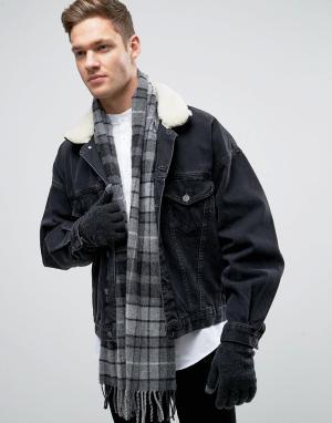 Glen Lossie Темно-серый шарф и перчатки из овечьей шерсти в клетку тартан Los. Цвет: серый