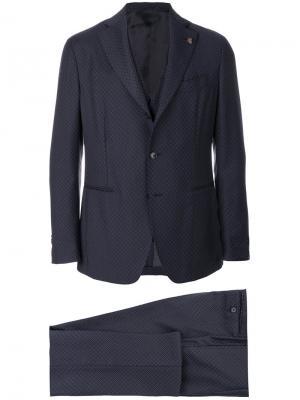 Костюм-тройка с вышивкой Gabriele Pasini. Цвет: синий