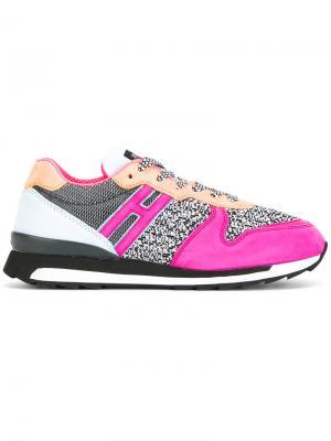 Кроссовки со шнуровкой и контрастными панелями Hogan Rebel. Цвет: розовый и фиолетовый