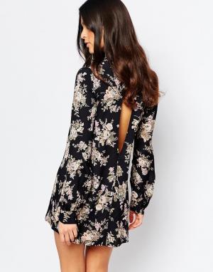 Flynn Skye Черное платье мини с открытой спиной Leah. Цвет: черный