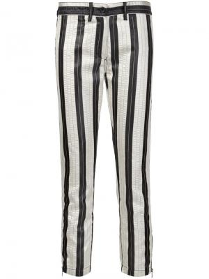 Укороченные брюки в полоску Ann Demeulemeester. Цвет: белый