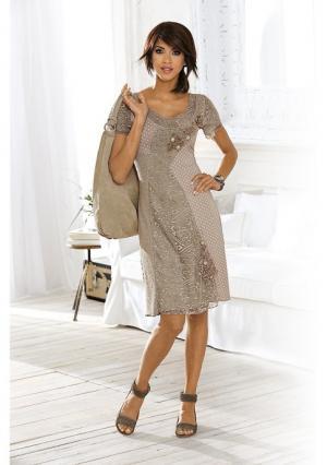 Платье Linea Tesini. Цвет: серо-коричневый