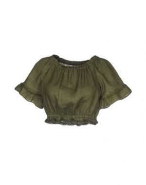 Блузка 120% LINO. Цвет: зеленый-милитари