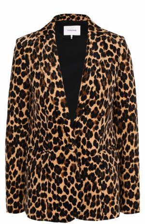 Приталенный жакет с леопардовым принтом Frame Denim. Цвет: леопардовый