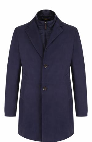 Однобортное кожаное пальто с подстежкой Canali. Цвет: темно-синий