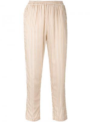 Полосатые зауженные брюки Mes Demoiselles. Цвет: телесный