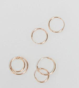 ASOS 3 пары сережек‑колец из позолоченного серебра. Цвет: медный