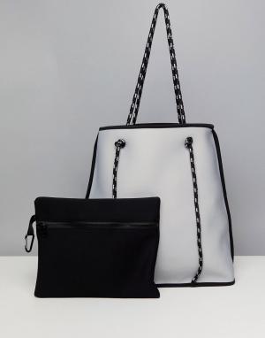 ASOS Двусторонняя сумка со съемным клатчем DESIGN. Цвет: желтый