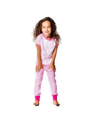 Пижама Deux par. Цвет: малиновый, белый