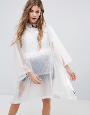 Hunter Прозрачный полиуретановый дождевик-пончо с карманом. Цвет: белый