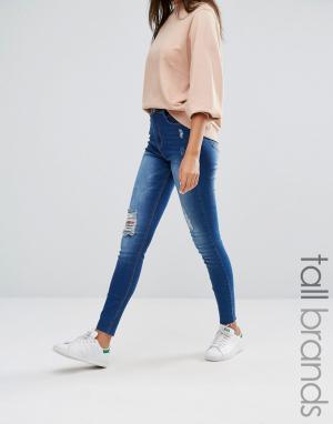 Missguided Tall Зауженные джинсы с высокой талией и рваной отделкой Si. Цвет: синий