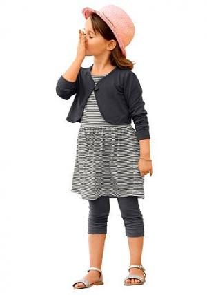 Комплект: болеро + платье легинсы KIDOKI. Цвет: темно-серый/белый в полоску