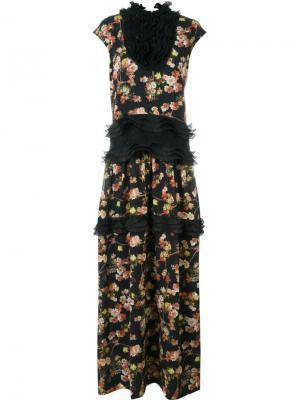 Платье с оборками и цветочным узором Antonio Marras. Цвет: чёрный
