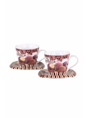Чайный набор 4предмета 220мл PATRICIA. Цвет: коричневый