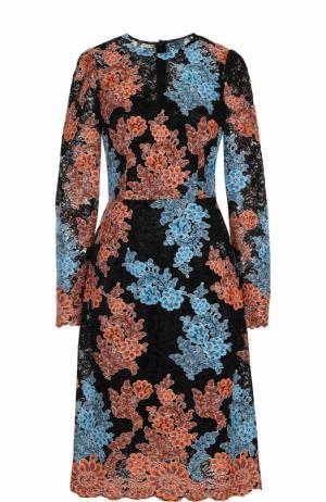 Кружевное платье-миди с длинным рукавом Dolce & Gabbana. Цвет: разноцветный