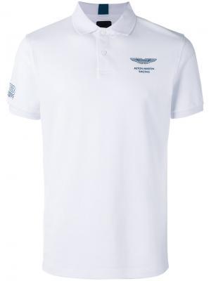 Рубашка-поло с принтом на груди Hackett. Цвет: белый