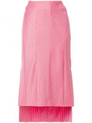 Юбка миди с вышивкой Aalto. Цвет: розовый и фиолетовый