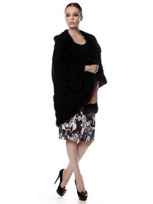 Кардиган-пальто безразмерный вязаный Черный Пушистик с блеском + пояс Оби в подарок! SEANNA. Цвет: черный
