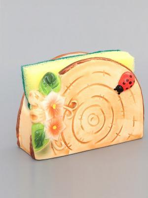 Подставка для губки Бревнышко с губкой Elan Gallery. Цвет: светло-коричневый, красный, зеленый
