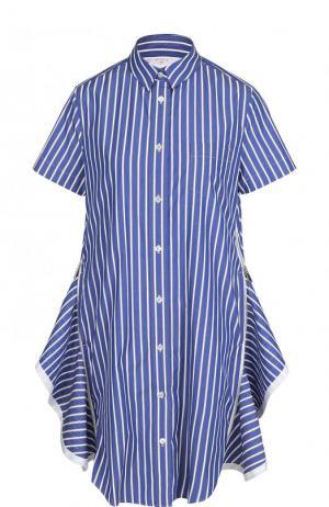 Хлопковое платье-рубашка свободного кроя в полоску Sacai. Цвет: синий