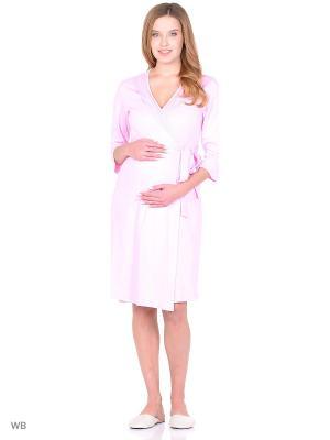 Комплект женский для беременных и кормящих (халат+сорочка) Hunny Mammy. Цвет: розовый