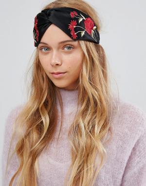 ALDO Повязка на голову с цветочной вышивкой. Цвет: черный