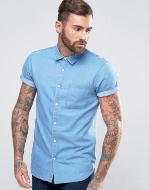 New Look Выбеленная джинсовая рубашка классического кроя с коротким рукавами Ne. Цвет: синий