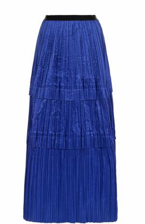 Шелковая плиссированная юбка-макси Oscar de la Renta. Цвет: синий