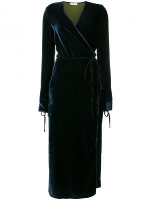 Бархатное платье с запахом Attico. Цвет: синий