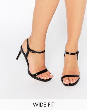 Faith Wide Fit Черные легкие сандалии на каблуке Dolly. Цвет: черный