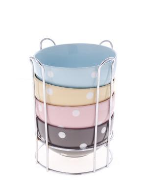 Салатники в наборе Floret Elff Ceramics. Цвет: голубой, оранжевый, розовый, коричневый