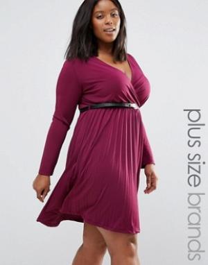 Praslin Платье с плиссированной юбкой и ремешком Plus. Цвет: красный