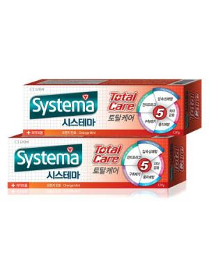 Зубная паста Systema Комплексный уход (Апельсин) х 2шт. Cj Lion. Цвет: красный