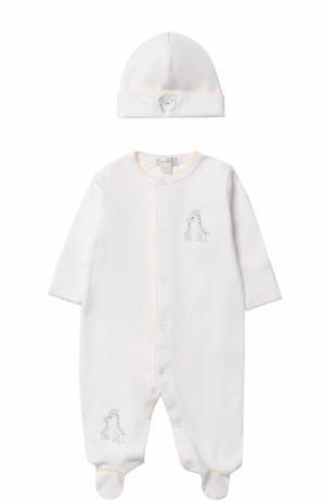 Хлопковая пижама с шапкой Kissy. Цвет: белый