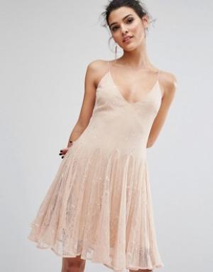 Keepsake Кружевное платье мини Above Water. Цвет: розовый