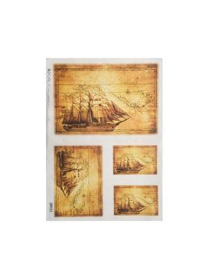 Декупажная карта 32*45 старинные корабли Idigo. Цвет: сиреневый, прозрачный