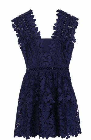 Приталенное мини-платье с кружевной отделкой self-portrait. Цвет: темно-синий