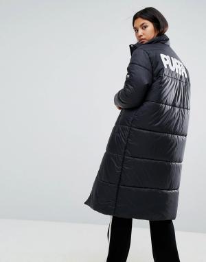 Puffa Длинная дутая оверсайз-куртка с логотипом на спине. Цвет: черный