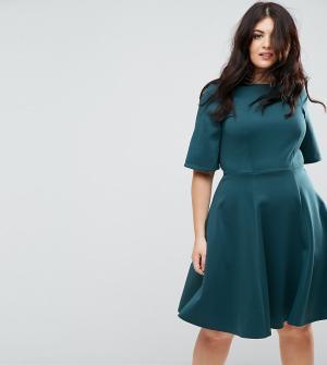 Closet London Plus Короткое приталенное платье с рукавами-кимоно. Цвет: синий