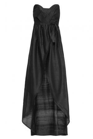 Платье из шелка с поясом 165197 Villa Turgenev. Цвет: черный