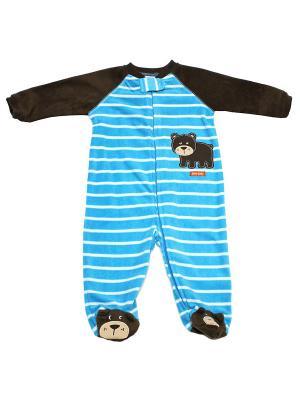 Комбинезон для сна флисовый Гризли Little Me. Цвет: голубой, коричневый